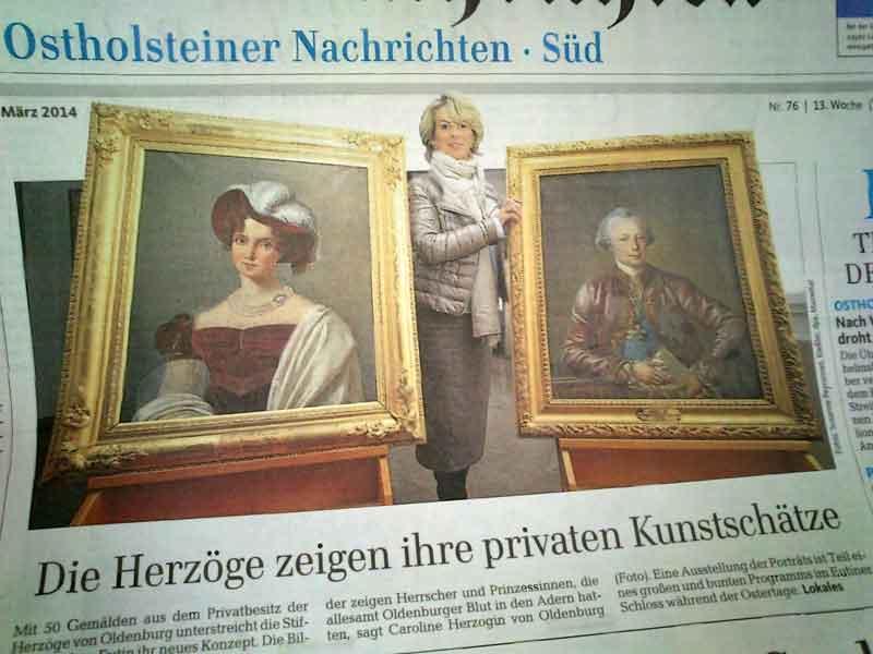 Titelfoto: Die Herzogin von Oldenburg und Gemälde aus dem Privatbesitz der Familie.