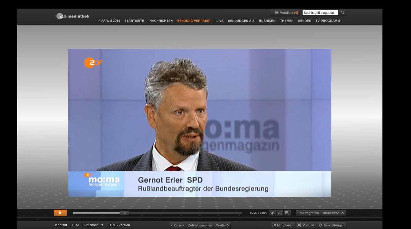 """Der """"Rußland""""-Beauftrage heute morgen im ZDF-Morgenmagazin."""