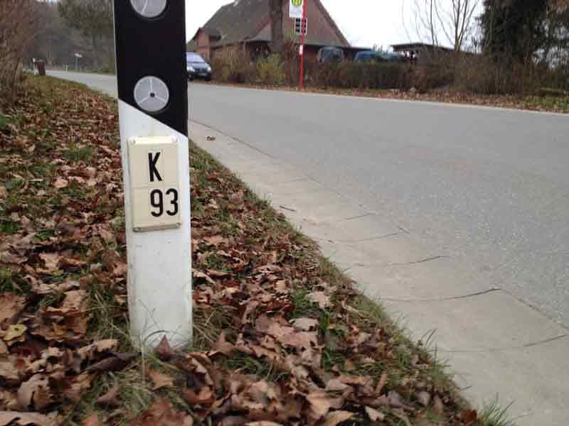 Leitpfosten mit Klassifizierungstafel an der Kreisstraße 93 im Kreis Segeberg.