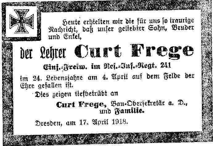 Todesanzeige von Curt Frege aus dem Ersten Weltkrieg