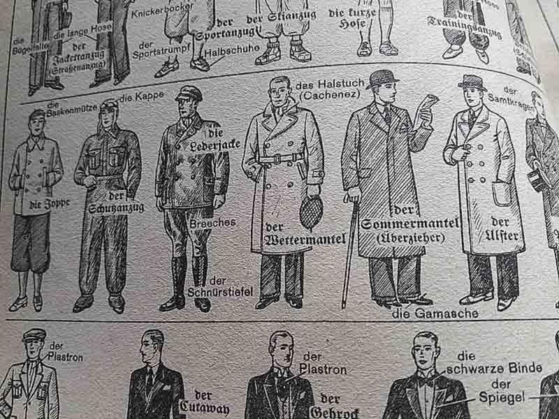 Ein gezeichnetes Schauspiel zeigt Herrenbekleidung.
