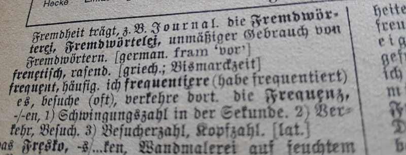 """Auszug aus einem Wörterbuch von 1940 mit dem Wort """"Fremdwörtelei""""."""