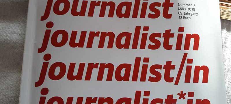 """Der """"Journalist""""-Titel zur geschlechtergerechten Sprache."""