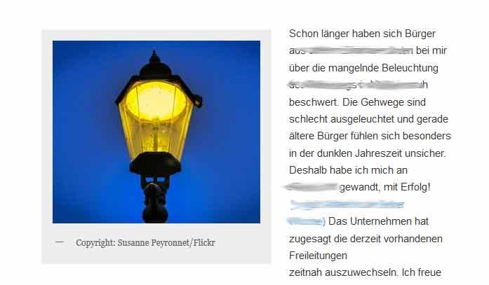 Screenshot von der Webseite mit dem gestohlenen Foto.